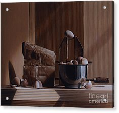 Eggs And Cardboard Acrylic Print by Larry Preston
