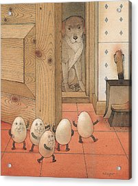 Eggs And Dog Acrylic Print by Kestutis Kasparavicius