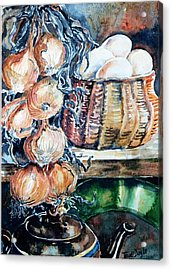 Acrylic Print featuring the painting Eggs And Onions In The Larder  by Trudi Doyle