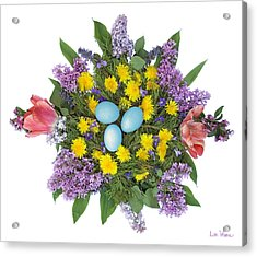 Eggs In Dandelions, Lilacs, Violets And Tulips Acrylic Print