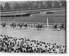 Egomaniac Heads For Victory On Opening Day At Belmont. 1969 Acrylic Print by Anthony Calvacca