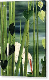 Acrylic Print featuring the painting Egret In Reeds by Anne Beverley-Stamps
