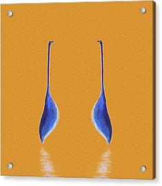 Egret Mirrored On Orange Square Acrylic Print