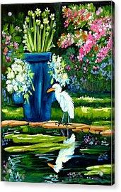 Egret Visits Goldfish Pond Acrylic Print by Carol Allen Anfinsen