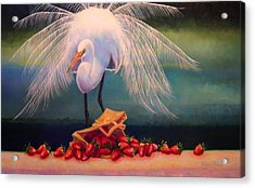 Egret With Strawberry Bag Acrylic Print by Valerie Aune