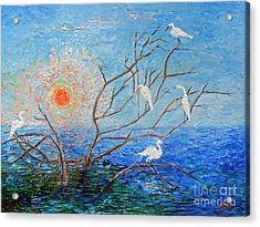Acrylic Print featuring the painting Egrets At Sunrise by Doris Blessington