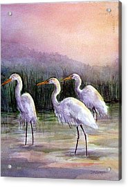 Egrets At Sunset Acrylic Print by Suzanne Krueger