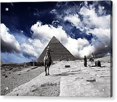 Egypt - Clouds Over Pyramid Acrylic Print by Munir Alawi