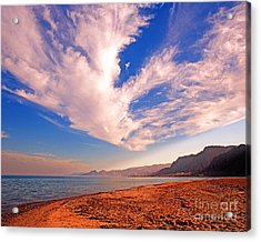 Egyptian Desert Coast And The Red Sea Acrylic Print by Chris Smith