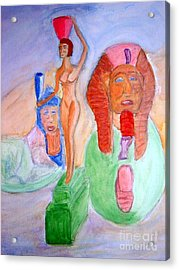 Egyptian Reanimation Of Woman Bearing Offering And Great Sphinx Of Tanis Acrylic Print by Stanley Morganstein