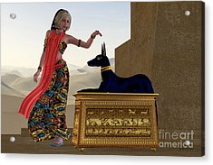 Egyptian Woman And Anubis Statue Acrylic Print