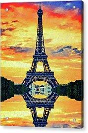 Eifel Tower In Paris Acrylic Print by PixBreak Art