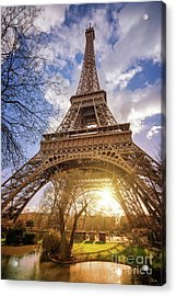 Eiffel Sunset Acrylic Print by Delphimages Photo Creations