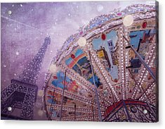 Acrylic Print featuring the photograph Eiffel Tower And Carousel by Clare Bambers