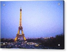 Eiffel Tower At Dusk Van Gogh Style Acrylic Print