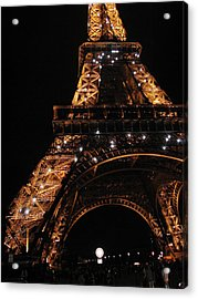 Acrylic Print featuring the photograph Eiffel Tower At Night by Nancy Taylor