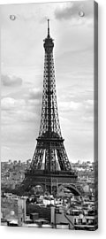 Eiffel Tower Black And White Acrylic Print by Melanie Viola