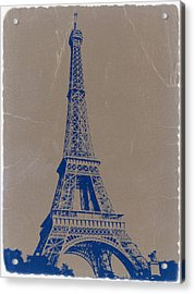 Eiffel Tower Blue Acrylic Print by Naxart Studio