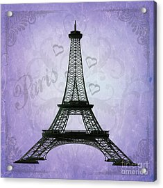 Eiffel Tower Collage Purple Acrylic Print