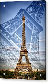 Eiffel Tower Double Exposure II Acrylic Print by Melanie Viola