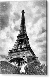 Eiffel Tower Dream Bw Acrylic Print by Mel Steinhauer