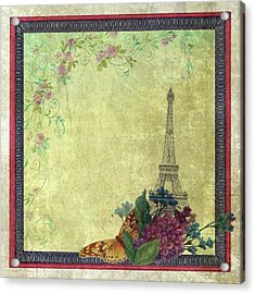 Acrylic Print featuring the painting Eiffel Tower Faded Floral With Swirls by Judith Cheng