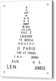 Eiffel Tower Acrylic Print by Guillaume Apollinaire