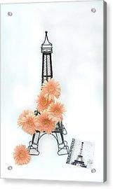 Eiffel Tower Peach Gerber Daisies Cottage Decor - Eiffel Tower Floral Daisies Still Life Decor Acrylic Print