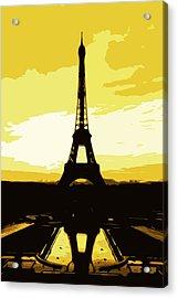 Eiffel Tower In Gold Acrylic Print by Nilla Haluska
