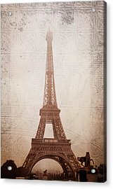 Acrylic Print featuring the digital art Eiffel Tower In The Mist by Christina Lihani