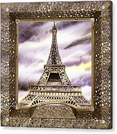 Acrylic Print featuring the painting Eiffel Tower Laces Iv  by Irina Sztukowski