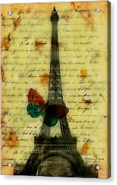 Eiffel Tower Memory Encaustic Acrylic Print by Bellesouth Studio