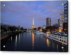 Eiffel Tower Over The Seine Acrylic Print