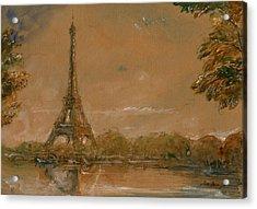 Eiffel Tower Paris Watercolor Acrylic Print by Juan  Bosco
