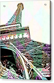 Eiffel Tower Rainbow Acrylic Print by Edward Fielding
