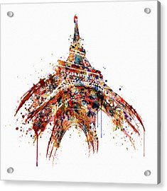 Eiffel Tower Watercolor Acrylic Print by Marian Voicu