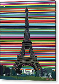 Acrylic Print featuring the painting Eiffel Tower With Lines by Carla Bank
