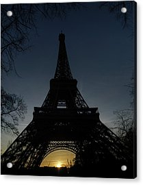 Eiffeltower At Sundown Acrylic Print by Erik Tanghe