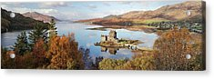 Acrylic Print featuring the photograph Eilean Donan Castle Panorama In Autumn by Grant Glendinning