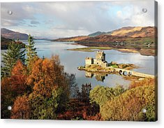 Acrylic Print featuring the photograph Eilean Donan Reflection In Autumn by Grant Glendinning