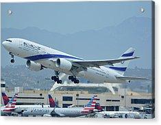 Acrylic Print featuring the photograph El Al Boeing 777-258er 4x-ece Los Angeles International Airport May 3 2016 by Brian Lockett
