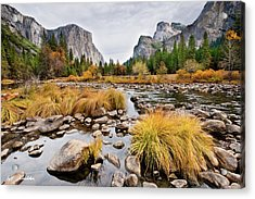 El Capitan And The Merced River In The Fall Acrylic Print