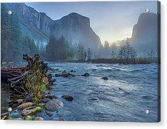 Acrylic Print featuring the photograph El Capitan Merced River Dawn by Scott McGuire