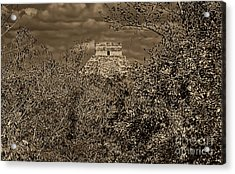 Acrylic Print featuring the photograph El Castillo Rising by Nigel Fletcher-Jones
