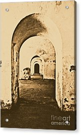 El Morro Fort Barracks Arched Doorways Vertical San Juan Puerto Rico Prints Rustic Acrylic Print by Shawn O'Brien
