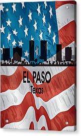 El Paso Tx American Flag Vertical Acrylic Print