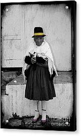 Elderly Beggar In Biblian Acrylic Print by Al Bourassa