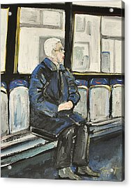 Elderly Lady On 107 Bus Montreal Acrylic Print by Reb Frost