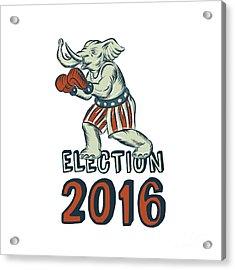 Election 2016 Republican Elephant Boxer Etching Acrylic Print by Aloysius Patrimonio