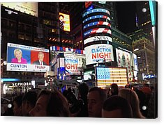Election Night In Times Square 2016 Acrylic Print